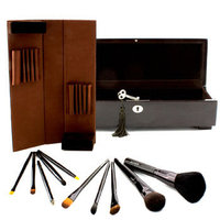 Laura Mercier Signature Brushes: Luxurious 10 Piece Brush Collection (10x Brush 1x Wooden Box) 10pcs+1box