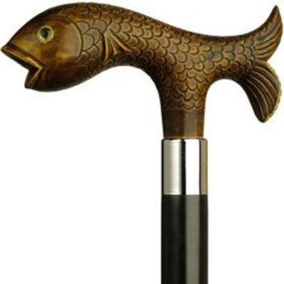 Harvy Unisex Fish Derby Cane Black Maple Shaft, Brown Handle -Affordable Gift! Item #DHAR-9151400