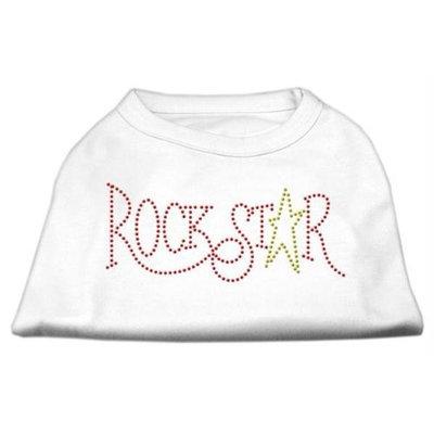 Mirage Pet Products 5273 XXLWT RockStar Rhinestone Shirts White XXL 18