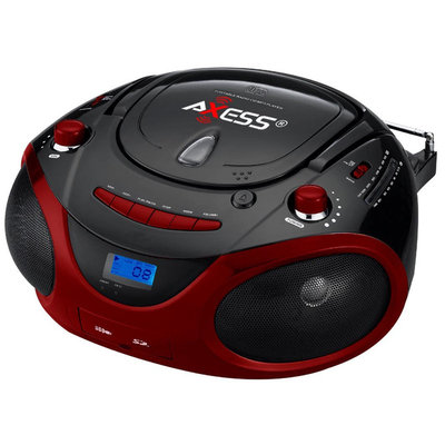 Axess Red Portable Boombox MP3/CD Player with Text Display, with AM/FM Stereo, USB/SD/MMC/AUX Inputs