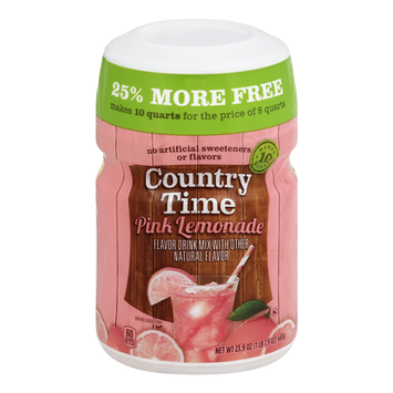 Country Time Pink Lemonade Sugar Sweetened Powdered Soft Drink Cannister