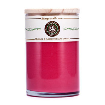 HONEYSUCKLE & ROSE by Honeysuckle & Rose MASSAGE & AROMATHERAPY SOY CANDLE 12 OZ TUMBLER. A PEACEFUL & UPLIFTING BLEND WITH ROSE QUARTZ GEMSTONE. BURNS APPROX. 30+ HOURS for UNISEX