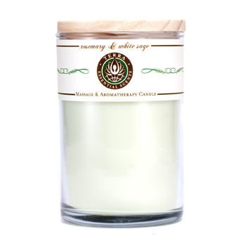 ROSEMARY & WHITE SAGE MASSAGE & AROMATHERAPY SOY CANDLE 12 OZ TUMBLER. A STIMULATING & WARMING BLEND WITH MOSS AGATE GEMSTONE. BURNS APPROX. 30+ HOURS for UNISEX