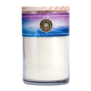 ENERGY MASSAGE & INTENTION SOY CANDLE 12 OZ TUMBLER. A BLEND OF PEPPERMINT, EUCALYPTUS, LEMON, LIME, MANDARIN, GRAPEFRUIT, ROSEMARY & HYSSOP WITH SUNSTONE GEMSTONE. BURNS APPROX. 30+ HOURS for UNISEX