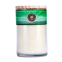 ENLIGHTENMENT MASSAGE & INTENTION SOY CANDLE 12 OZ TUMBLER. A BLEND OF KEYLIME, LIME, LEMON, VERBENA & PETITGRAIN WITH PREHNITE GEMSTONE. BURNS APPROX. 30+ HOURS for UNISEX