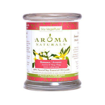 ROMANCE AROMATHERAPY by Romance Aromatherapy ONE 3.7x4.5 inch MEDIUM GLASS PILLAR SOY AROMATHERAPY CANDLE. COMBINES THE ESSENTIAL OILS OF YLANG YLANG & JASMINE TO CREATE PASSION AND ROMANCE. BURNS APPROX. 45 HRS. - U for UNISEX