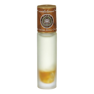 ESSENTIAL OILS TERRA SANDALWOOD AROMA ROLL ON - ESSENTIAL OILS OF SANDALWOOD WITH CLEAR QUARTZ GEMSTONES IN JOJOBA OIL .33 OZ for UNISEX