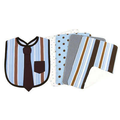 Trend Lab Max Necktie Bib and Burp Cloth Set