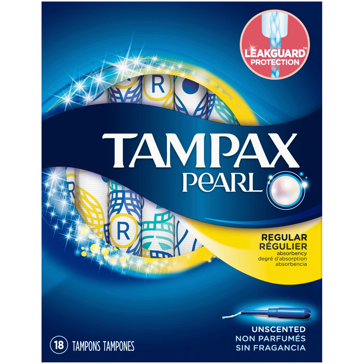 Slide: Tampax Pearl Regular Plastic Tampons, Unscented