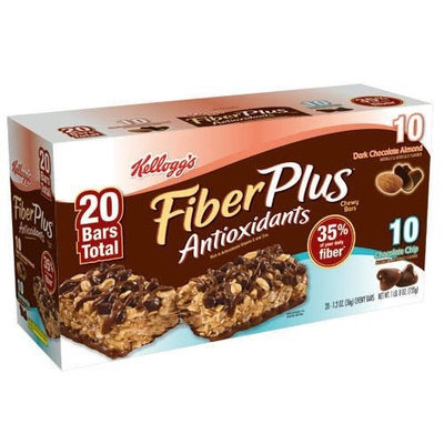 Kellogg's Fiberplus Bars, Chocolate Chip 10, Dark Chocolate Almond 10, 20 Bars Total