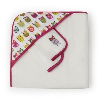 Zutano Owls Infant Towel and Washcloth Set, Pink