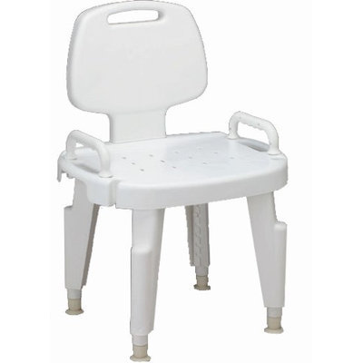 Medline Bench, Bath, with Back And Arm, Composite