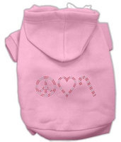 Mirage Pet Products 542508 SMPK Peace#44; Love and Candy Canes Hoodies Pink S 10
