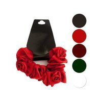 Bulk Buys Mini Twisted Ruffle Rose Accent Hair Scrunchi Pack Of 24