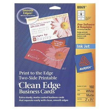 Avery Inkjet Print-to-the-Edge Two-Sided Clean Edge Business Cards -