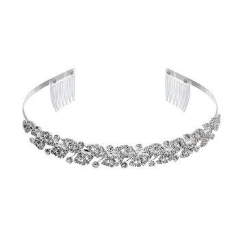 Crystal Allure Leaf Headband (White)