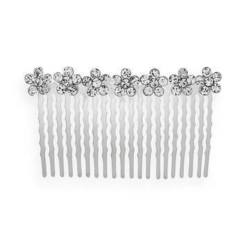 Crystal Allure Flower Hair Comb (White)