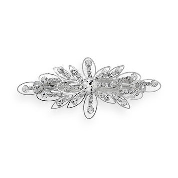 Crystal Allure Flower Barrette (White)