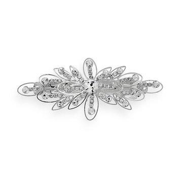 Crystal Allure Flower Barrette (White)