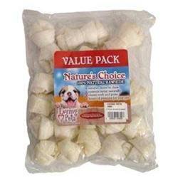 Loving Petsing Pets Rawhide White KNOT BONE 3-4in 12pack