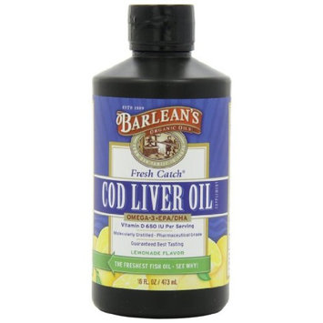 Barlean's Organic Oils, Fresh Catch Cod Liver Oil, Lemonade Flavor, 16-Ounce