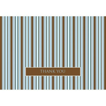 Hortense B. Hewitt Stripes Thank You Note Cards - Brown/Blue