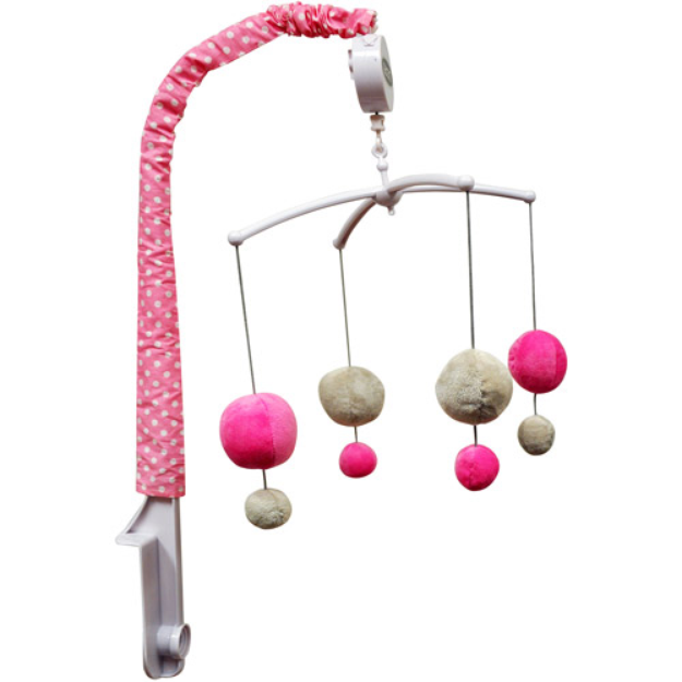 Bacati Dots Musical Mobile, Gray/Pink