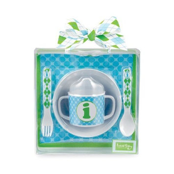 Mud Pie Initial Baby Boy Blue Initial Plate, Bowl, Sippy Cup, Fork And Spoon Set, Letter I