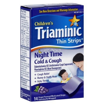 Triaminic Children's Thin Strips Cold & Cough, Night Time, Grape Flavored, 14 ct.