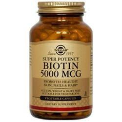 Solgar Biotin - 5000 mcg - 100 Vegetable Capsules