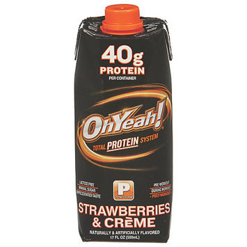 Iss 100719 17oz OhYeah Protein Powder Strawberries Creme 12Case