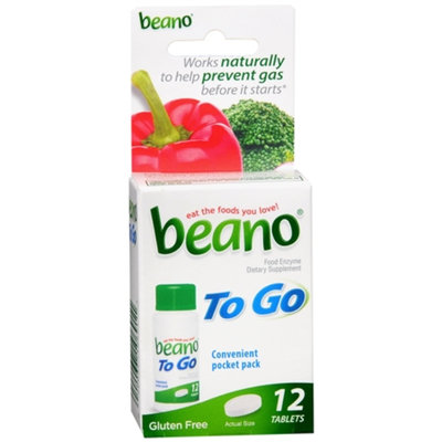 Beano To Go Food Enzyme Dietary Supplement Tablets, 12 ea