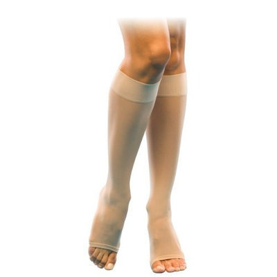 Sigvaris Women's Sheer Fashion 15-20 mmHg Open Toe Knee High Sock Size: B (7.5-9.5), Color: Natural 33