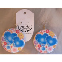 Fashion Wood Earrings, with Brass Earring Hooks,color: White with Blue Hards and Red/orange Flowers, Flat Round
