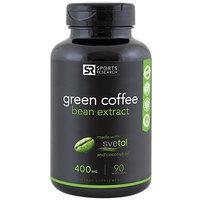 Green Coffee Bean Extract 400 mg, 45% Chlorogenic Acids, 90 Liquid Softgels, Sports Research Corporation