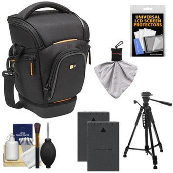 Case Logic Digital SLR Zoom Holster Camera Bag/Case (Black) (SLRC-201) + (2) BLS-1 Batteries + Tripod + Accessory Kit for Olympus Evolt E-620, E-600, E-450, E-420 & E-410