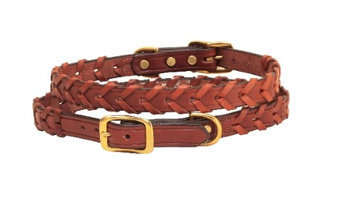 Tory Leather Laced Dog Collar 12 Inch Oakbark