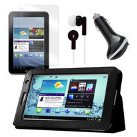 Black Folio Case with Earphones, Screen Protector, and Car Charger for Samsung Galaxy Tab 2 7