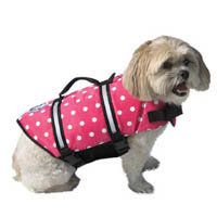 Digpets Paws Aboard Polka Dot Doggy Life Jacket, Pink