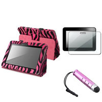 Insten INSTEN Hot Pink Zebra Stand Leather Case+Guard/Stylus for Amazon Kindle Fire HD 7
