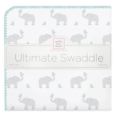 Swaddledesigns Ultimate Swaddle Blanket with Elephants - Green