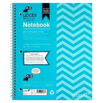 Yoobi, Lcc Yoobi 1 Subject Spiral Notebook, College Ruled - Aqua Chevron