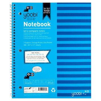Yoobi, Lcc Yoobi 1 Subject Spiral Notebook, College Ruled - Blue Stripe