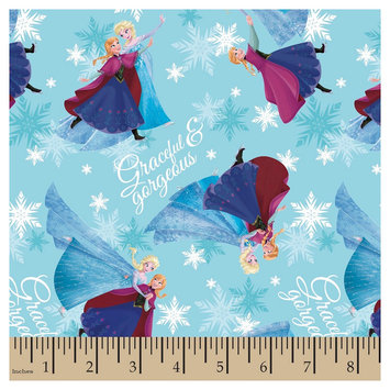 Frozen Sisters Skating Blue Satin Fabric