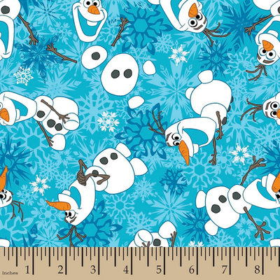 Disney Frozen Olaf Snowflakes Flannel Fabric