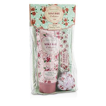 Healthcote & Ivory Vintage Rose Handbag Beauty Treats: Hand Cream 100ml/3.38oz + Lip Balm 14g/0.49oz + Nail File 3pcs
