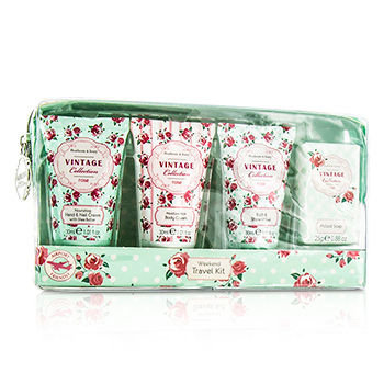 Healthcote & Ivory Vintage Rose Weekend Travel Kit: Shower Gel 30ml/1.01oz + Body Cream 30ml/1.01oz + Hand Cream 30ml/1.01oz + Soap 25g 4pcs