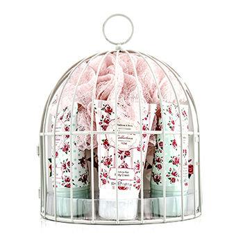 Healthcote & Ivory Vintage Rose Miniature Birdcage with Bath & Body Essentials 4pcs