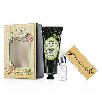 Healthcote & Ivory Beau Jardin Citrus Grove Manicure Coffret: Hand Cream 100ml/3.38oz + Cuticle Oil 10ml/0.33oz + Nail Buffer 3pcs