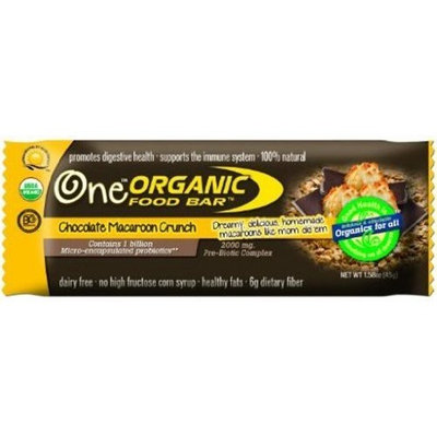 Organic Food Bar Macaroon Crunch, Chocolate 1.58oz Bars (Pack of 12)